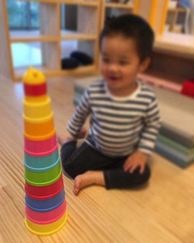 ハイチーズ♡︎('ω'︎ )#1人で詰めたよ#2歳児#舞多聞もりの保育園#もりの保育園#ピンクのハートプロジェクト#0歳からのyoga#まんまるねんね