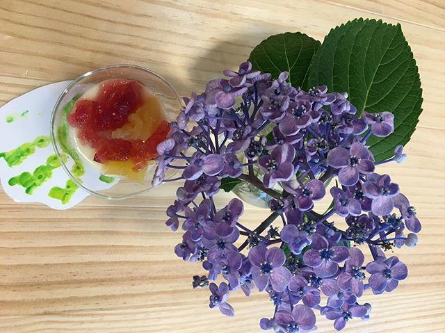 あじさいの会#紫陽花ゼリー#アレルギーフリー#あじさい#手型コースター#お子さまの手#紫陽花の葉っぱ